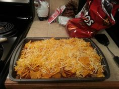 1 pound hamburger, 1/2 cup sour cream, 1 can diced tomatoes, 1 can green chilies, 1 can cream of chicken soup, 1/2 cup milk, 1 1/2 tablespoon taco seasoning, 1 1/2 cup shredded cheese, 1 bag doritos   Combine ingredients, except doritos. Preheat to 350. Make 1 layer of doritos in 9x13 pan, hamburger mixture and cheese.   Cover top with foil, bake 20 minutes.