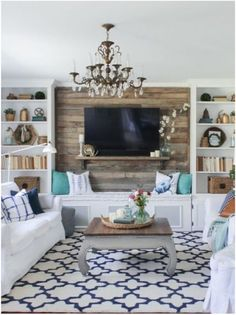 Cozy Spring Home Tour. Cozy Spring Home Tour - Blue, White and Aqua living room with rustic accents, pallet wall. The Rustic Living Room Coastal Living Rooms, Small Living Rooms, My Living Room, Home And Living, Living Room Designs, Modern Living, Built In Shelves Living Room, Living Spaces, Simple Living