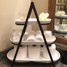 Bathroom storage tiered tray