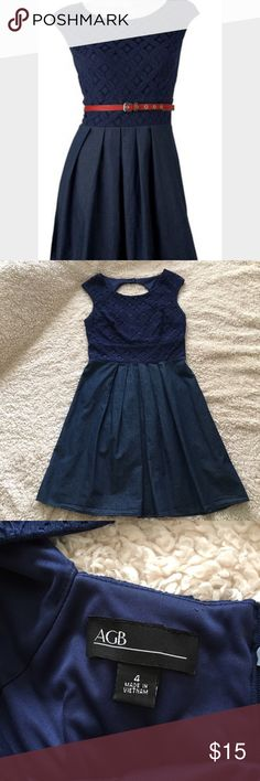 🌴S A L E🌴 AGB Navy Lace Denim Dress Super adorable navy lace/denim dress, cute opening in the back, zipper, 100% cotton, worn a couple of times, bodice is 68% cotton, 26% nylon, 6% rayon, size 4, measurements upon request. AGB Dresses