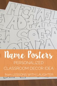 Name Posters Personalized Classroom Decor is part of Infant Classroom Organization - Having students color in posters with their names is a great first day activity that provides yearlong decoration for the classroom! 3rd Grade Classroom, Classroom Community, Preschool Classroom, Future Classroom, Classroom Ideas, Classroom Posters, Classroom Inspiration, Classroom Decor Primary, Fall Classroom Decorations