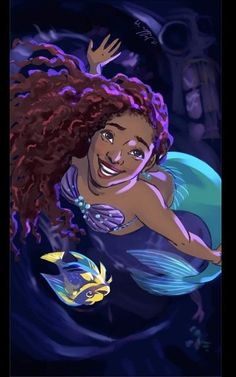 Halle Bailey cast to be our new Little Mermaid in the live-action remake. Little Mermaid Live Action, Little Mermaid Art, Black Mermaid, Ariel Live Action, Unicorns And Mermaids, Mermaids And Mermen, Pretty Mermaids, Disney Princess Art, Flame Princess