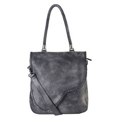 Women's Rimen & Co. Genuine Leather Zipper Closure (£68) ❤ liked on Polyvore featuring bags, handbags, grey leather tote, tote handbags, leather tote handbags, grey purse and leather tote bags