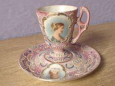 Ardalt Japanese tea cup, lustreware hand painted moriage tea set, victorian portrait cup.