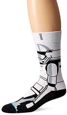 Stance Men's Trooper 2 Star Wars Classic Crew Sock, White, Large