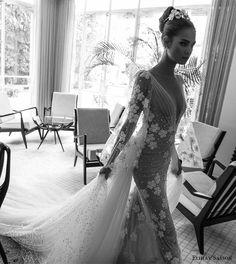 elihav sasson spring 2018 bridal deep v neck illusion bouffant long sleeves ruched bodice sheath wedding dress (vj 017) sv long train princess romantic