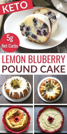 Have company coming or need something for a special brunch? This low carb gluten free lemon blueberry pound cake recipe is sure to please all!   LowCarbYum.com