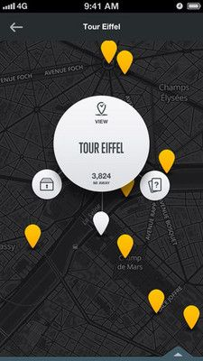 #map on City Guides by National Geographic #UI #design