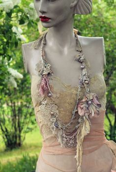 sassy summer necklace- original shabby chic soft  layered  long necklace from antique handmade lace trims, fibers, beads