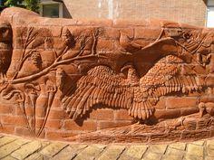 Reidsville, NC sculpture Brad Spencer crafts an unbelievable art installment using Pine Hall Brick products!