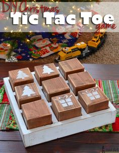 Life Hacks : Oversized Tic Tac Toe Game This would be so cute for neighbor gifts or for the grandkids to play. DIY Christmas Tic Tac Toe game with free Christmas Games For Kids, Diy Christmas Gifts, Holiday Crafts, Christmas Crafts, Christmas Decorations, Holiday Games, Santa Gifts, Christmas Goodies, Spring Crafts