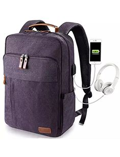 a0f910554381 Estarer Canvas Backpack w  USB Charging Port for Men Women