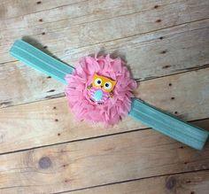 Owl Headband - Adorable Pink and Aqua Headband Adorned with a Cute Owl Embellishment! on Etsy, $6.99