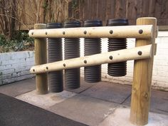 """drainpipe drums ~ love this concept as an accompaniment to the pvc xylophone in the gardens. could be incorporated as a sort of """"half wall"""" to designate a particular area. Outdoor Play Spaces, Outdoor Fun, Outdoor Games, Outdoor Ideas, Kids Indoor Playground, Playground Ideas, Playground Design, Drums For Kids, Music Garden"""