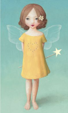 Card yellow dress fairy by Stephen Mackey