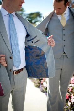 Alabaster & Chess blue and gold patterned lining with light grey wedding suit