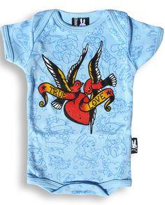 Six Bunnies - True Love Birds Flash Blue Bodysuit (3-6 Months). 100% Officially Licensed Six Bunnies Merchandise.