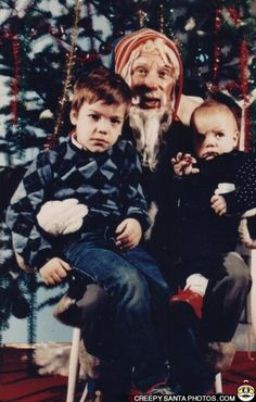 """According to the older boy in the photo - """"drunk and smelly santa from 1984!"""""""