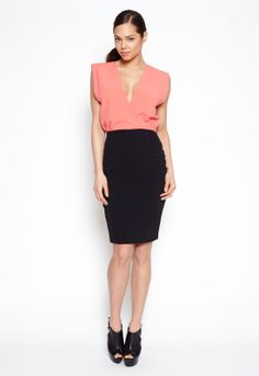 Hedonia Annabelle Dress in Black and Coral - Dresses