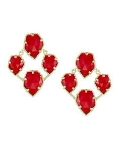 Beautiful, I'm all about this new bright red. Bridget Gold Earrings in Bright Red - Kendra Scott Jewelry. Available October 16, 2013.