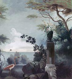 Paysages 200x220 - Le jardin au flamant rose couleur L200xH220 - 2 lés de 100cm - ultra mat
