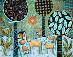 Two Deer 14x11 Birds House ORIGINAL Canvas PAINTING Abstract FOLK ART Karla G, brand new, just added, for sale...