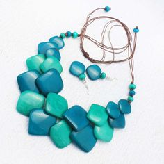 Blue Bead Necklace  Eco Friendly Jewelry made of Tagua Nut  https://www.etsy.com/listing/485132233/blue-bead-necklace-eco-friendly-jewelry