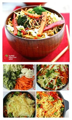 One Pot Veggie Yakisoba Recipe - A quick dinner idea that are sure to get the kids eating more vegetables. http://www.superhealthykids.com/one-pot-veggie-yakisoba/