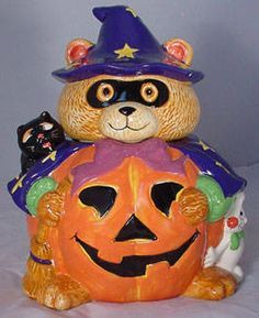 Black Cat and Bear Halloween Cookie Jar