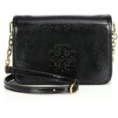 Tory Burch Britten Textured Patent Leather Crossbody Bag (15,960 THB) ❤ liked on Polyvore featuring bags, handbags, shoulder bags, apparel & accessories, black, black crossbody handbag, crossbody shoulder bags, black shoulder bag, black patent purse and tory burch purse
