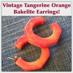 "Vtg Tangerine Orange Marbled Bakelite Earrings! Vintage Tangerine Orange Marbled Bakelite ""C"" Hoop Pierced Earrings! Lovely vintage Bakelite earrings features a pretty ""C"" hoop pierced design & marbled Orange color. Measures 1 1/4"" in diameter & 5mm thick. Has tested positive for bakelite using Simichrome Polish and hot water tests. Excellent condition. Offers Welcome Vintage Jewelry Earrings"