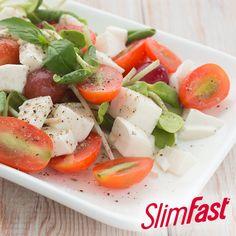 100-Calorie Snack Idea: 1 oz Mozzarella Cheese + 1 Small Tomato + 1 Tsp. Balsamic Vinegar