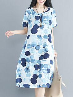 Women Midi Dress Polka Dots Printed Pockets A-line Linen