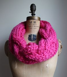 Oversized Cable knit cowl Magenta. Infinity scarf. by Happiknits, $98.00
