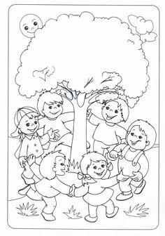 * Buiten dansen-spelen-zingen Earth Day Coloring Pages, Coloring Pages For Kids, Coloring Sheets, Adult Coloring, Coloring Books, Art Drawings For Kids, Drawing For Kids, Art For Kids, Tree Day