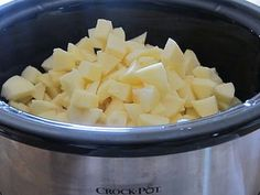 Homemade Crock Pot Applesauce 10 Apples peeled and sliced  1/2 cup water  1/2 cup sugar (optional)  sprinkle of cinnamon  Put all in Crockpot for 4 hours on High. May use an emersion blender/ handheld mixer to make smooth..or you can leave chunky.My favorite apples for applesauce: Gala, Fuji, and Jonagold.