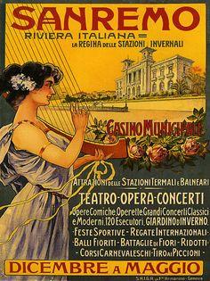 Sanremo (Liguria - Riviera) Vintage Italian opera poster - www.varaldocosmetica.it