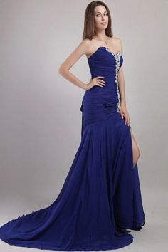 Blue Chiffon Sweetheart Celebrity Gown - Order Link: http://www.theweddingdresses.com/blue-chiffon-sweetheart-celebrity-gown-twdn1619.html - Embellishments: Applique , Beading , Draped , Ruched; Length: Sweep/Brush Train; Fabric: Chiffon; Waist: Natural - Price: 148.55USD
