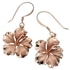 925 Silver 16mm Hibiscus Dangle Earrings Hawaiian Jewelry
