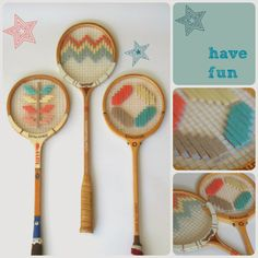 The Owls Are Hunting: Stitched Racquet Tutorial Embedded Image Permalink, Tennis Racket, Hunting, Wall Decor, Crafty, Stitch, Owls, Pattern, Fun