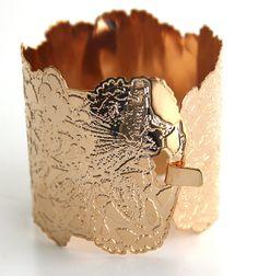 24 karat Rose gold plated flower bracelet Lace cuff by inbarshahak