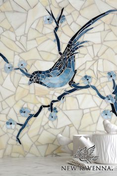 Chinoiserie, a hand cut jewel glass mosaic shown in Marcasite, Pewter and Mica with Quartz Sea Glass™, is part of the Delft Collection by Sara Baldwin for New Ravenna Mosaics. Copyright New Ravenna ® Tile Art, Mosaic Art, Mosaic Glass, Stained Glass, Glass Art, Sea Glass, Wall Tile, Tile Murals, Chinoiserie