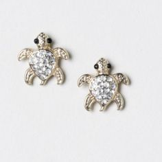 Cubic zirconia baby sea turtle earrings