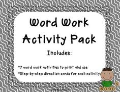 7 different activities to engage students during Daily 5 word work, literacy centers, or even whole group instruction.    Each activity includes its own direction card so that, once modeled, students will be able to work independently and refer to the directions as a reminder, if needed.    Activities included in this pack: - Rainbow Words - Boggle Words - Print to Cursive - Words 3x - Stamp Your Words - Write.Stamp.Decorate. - Scrabble Words