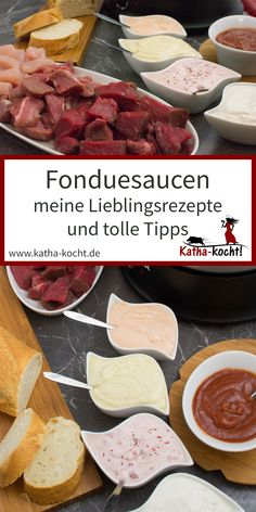Are you looking for some great fondue sauces for a delicious gourmet evening with . - Alle Rezepte - Welcome food web Beer Cheese Fondue, My Favorite Food, Favorite Recipes, Sauces, Party Food Platters, Fondue Party, Baking Basics, Beef Wellington, Food Lists