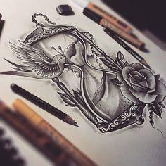 Hourglass by EdwardMiller on DeviantArt Tattoo 1 Bild Tattoos, Neue Tattoos, Trendy Tattoos, Cool Tattoos, Tatoos, Tattoo Drawings, Body Art Tattoos, Arm Tattoos, Rosen Tattoo Frau