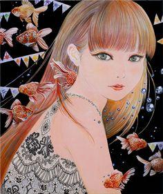 「金魚姫(Princess of goldfish)」パネルに和紙、木版、アクリル、色鉛筆 45、5×38 2014年