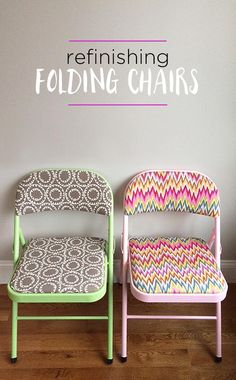 How to refinish folding chairs with fun fabric and colorful spray paint - DIY furniture makeover idea More