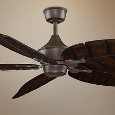 "80"" Oil-Rubbed Bronze Walnut Carved Wood Leaf Ceiling Fan Oil Rubbed Bronze, Wood, Fanimation, Lamps Plus, Walnut Finish, Wall Mount Bracket, Bronze, Ceiling Fan, Carving"