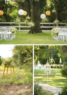 Ceremony under a tree. I love the incorporation of all things paper into a tree wedding theme, especially paper lanterns!